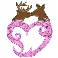 Buck and Doe Heart Love Applique machine embroidery digitized design pattern - Instant Download -4x4 , 5x7, and 6x10 hoops