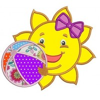 Cute Sun Applique with a beach ball and a bow Machine Embroidery Digitized Design Pattern -Instant Download- 4x4,5x7,6x10