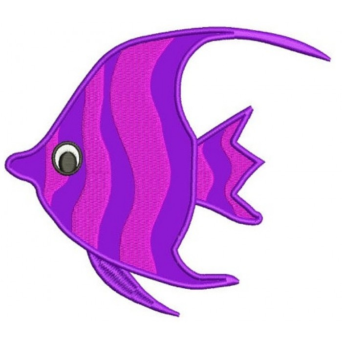 Fish Applique Machine Embroidery Digitized Design Pattern - Instant Download - comes in three sizes 4x4 , 5x7, 6x10 hoops