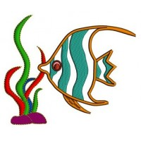 Fish and grass Applique Machine Embroidery Digitized Design Pattern - Instant Download - comes in three sizes 4x4 , 5x7, 6x10 hoops