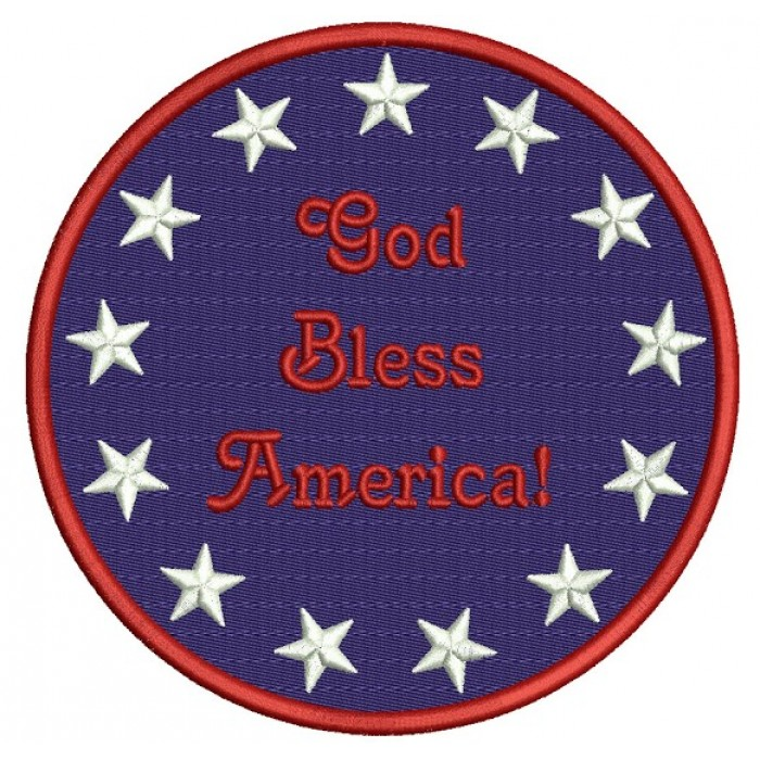 God Bless America Circle with stars Patriotic Machine Filled Embroidery Digitized Design Pattern - Instant Download - 4x4 , 5x7, 6x10