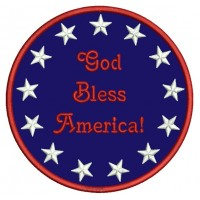 God Bless America Circle with stars Patriotic Applique Machine Embroidery Digitized Design Pattern - Instant Download - 4x4 , 5x7, 6x10