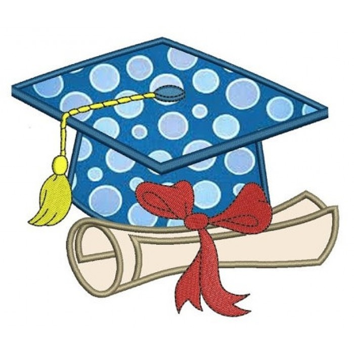 Graduation Cap Applique with diploma Machine Embroidery Digitized Design Pattern -Instant Download- 4x4,5x7,6x10