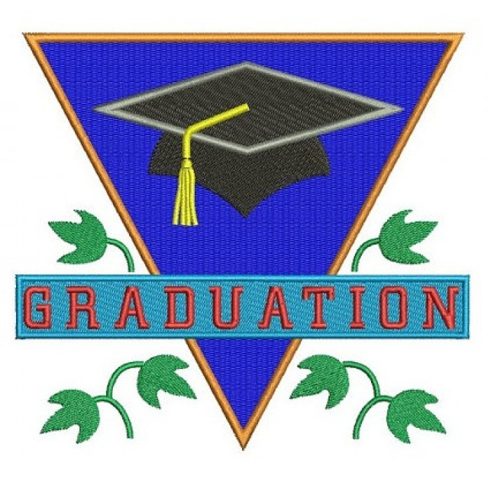 Graduation with a Cap Filled Machine Embroidery Digitized Design Pattern -Instant Download- 4x4,5x7,6x10