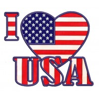 I love USA American Flag Patriotic heart Applique Machine Embroidery Digitized Design Pattern - Instant Download - 4x4 , 5x7, 6x10