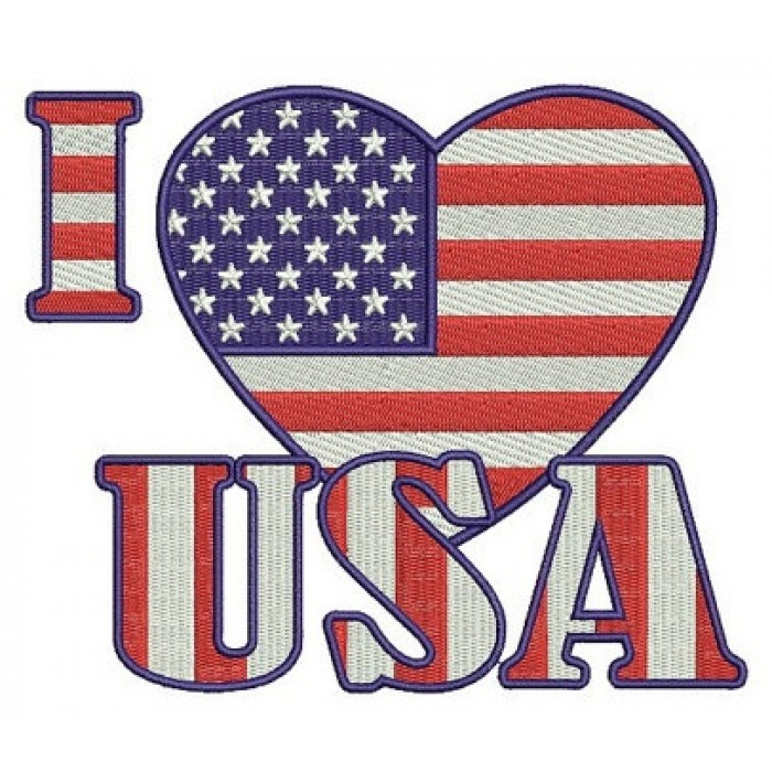 I love USA American Flag Patriotic heart Filled Machine Embroidery Digitized Design Pattern - Instant Download - 4x4 , 5x7, 6x10