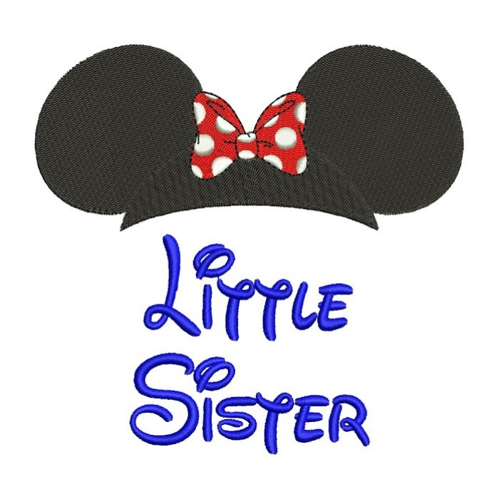 Little Sister Mickey Mouse Ears Machine Embroidery Digitized Filled Pattern- Instant Download - 4x4 ,5x7,6x10 -hoops