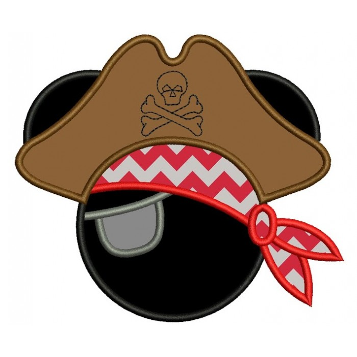 Looks like Boy Pirate Mickey Mouse Ears Applique and big hat Machine Embroidery Digitized Pattern- Instant Download - 4x4 ,5x7,6x10 -hoops