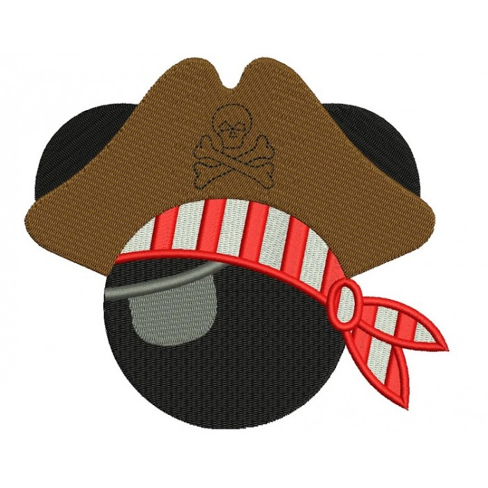 Looks like Boy Pirate Mickey Mouse Ears and big hat Machine Embroidery Digitized Filled Pattern- Instant Download - 4x4 ,5x7,6x10 -hoops