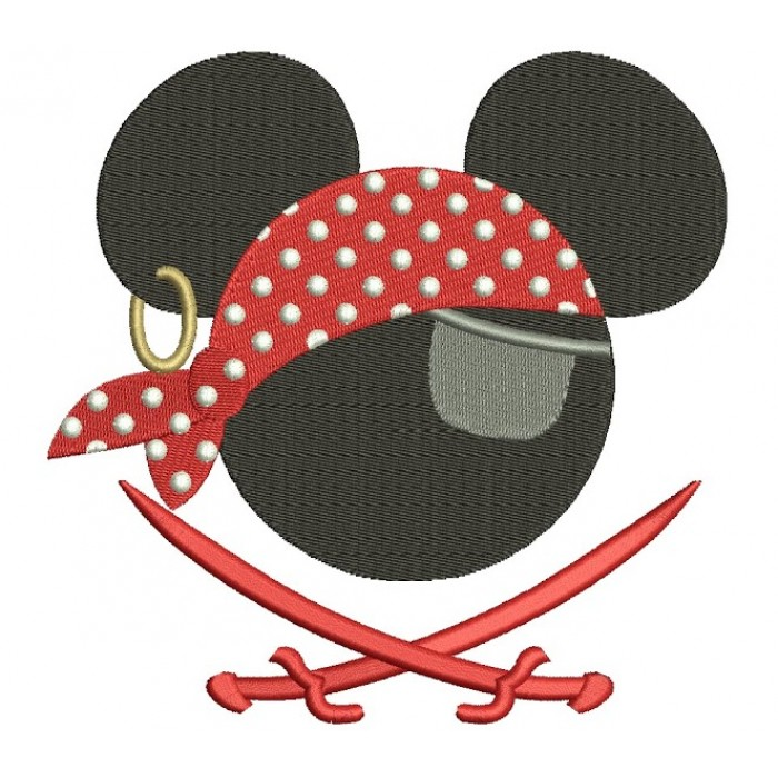 Looks like Pirate Mickey Mouse Ears Pirate with two swords Machine Embroidery Filled Digitized Pattern- Instant Download - 4x4 ,5x7,6x10
