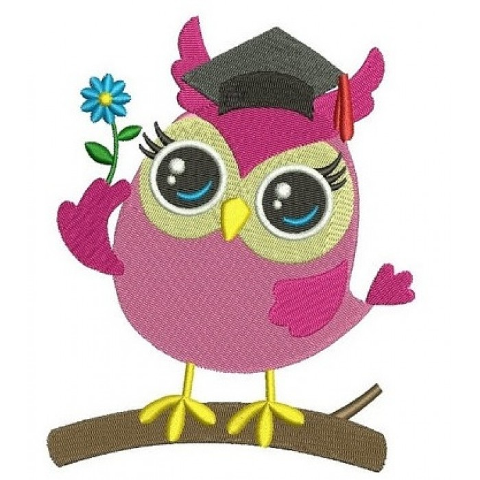 Owl Graduation Filled Machine Embroidery Digitized Design Pattern - Instant Download - comes in three sizes 4x4 , 5x7, 6x10 hoops