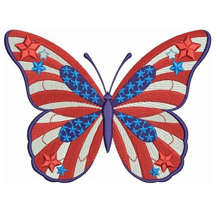 USA Patriotic Butterfly Filled Machine Embroidery Digitized Design Pattern - Instant Download - 4x4 , 5x7, and 6x10 hoops
