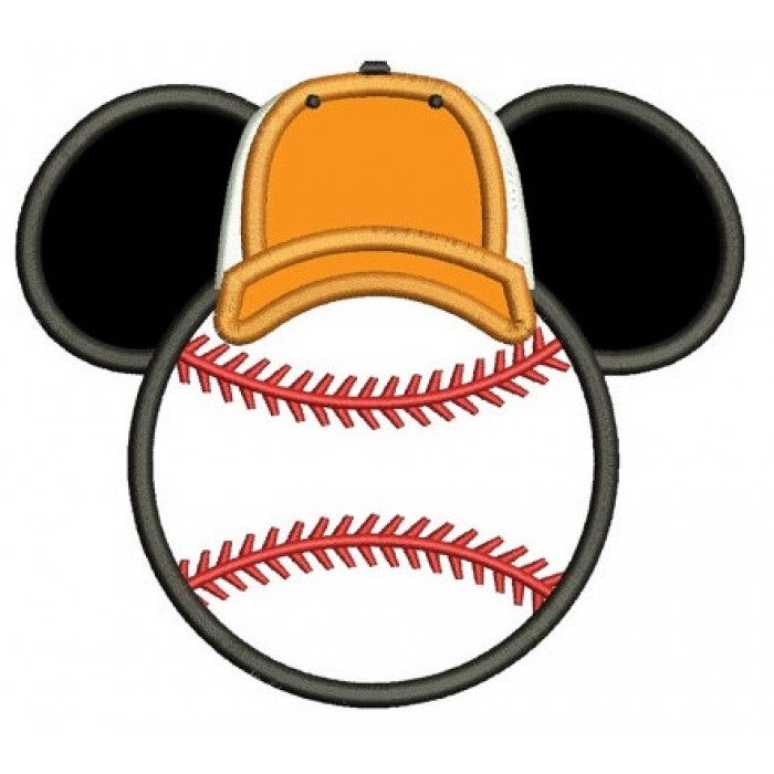 Baseball with what looks like Minnie Mouse Ears Applique Machine Embroidery Digitized Pattern- Instant Download - 4x4 ,5x7,6x10 -hoops