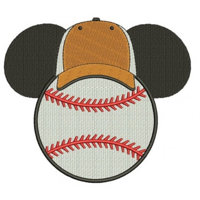Baseball with what looks like Minnie Mouse Ears Machine Embroidery Filled Digitized Pattern- Instant Download - 4x4 ,5x7,6x10 -hoops