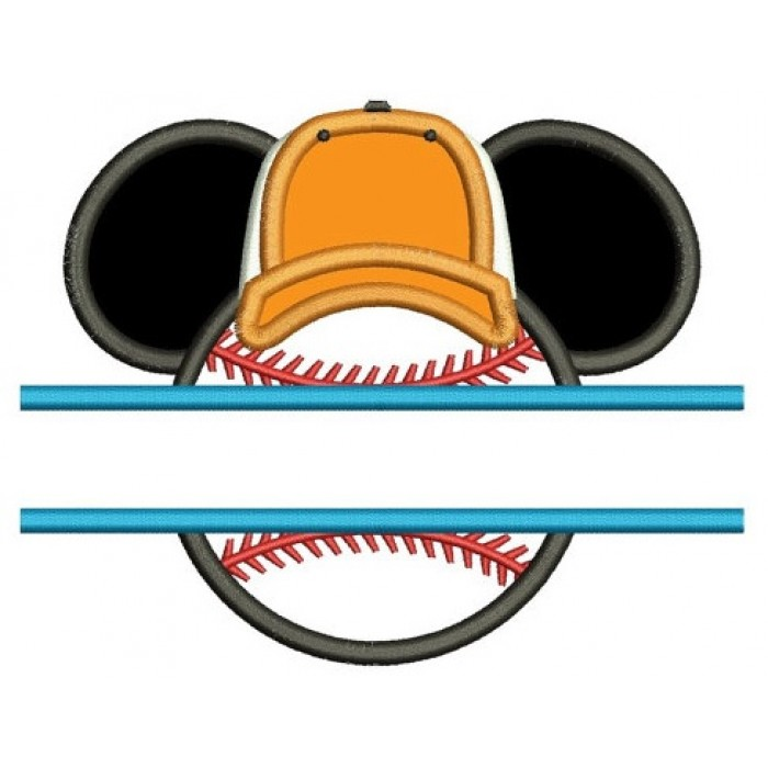 Baseball with what looks like Minnie Mouse Ears Split Applique Machine Embroidery Digitized Pattern- Instant Download - 4x4 ,5x7,6x10 -hoops