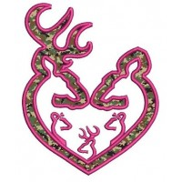 Buck and Doe wih three (3) kids Hunting Applique machine embroidery digitized design pattern - Instant Download -4x4 , 5x7, and 6x10 hoops
