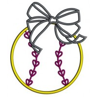 Girl Baseball with Bow Applique Machine Embroidery Digitized Design Pattern - Instant Download - 4x4 , 5x7, and 6x10 -hoops