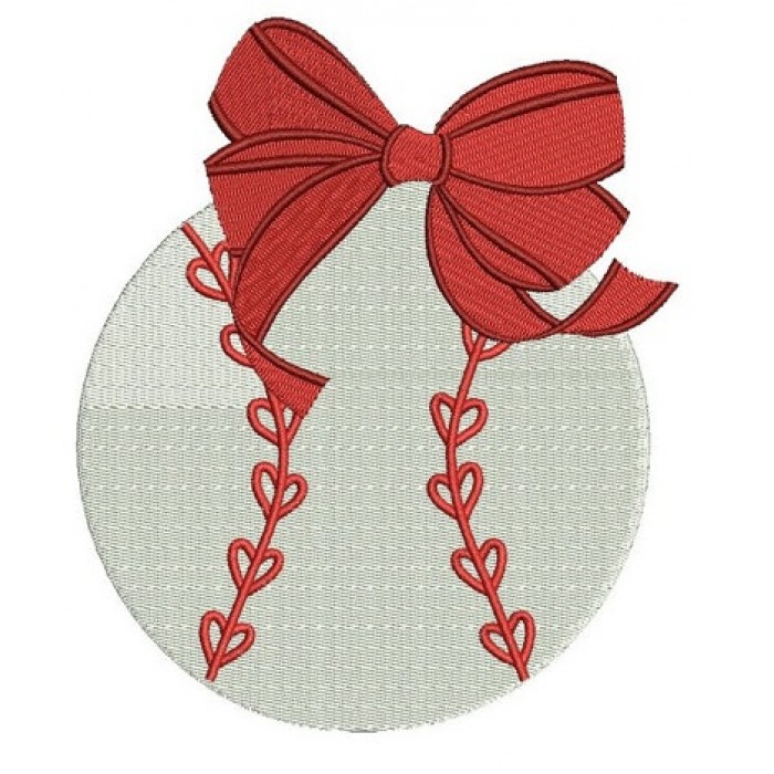 Girl Baseball with Bow Machine Embroidery Digitized Filled Design Pattern - Instant Download - 4x4 , 5x7, and 6x10 -hoops