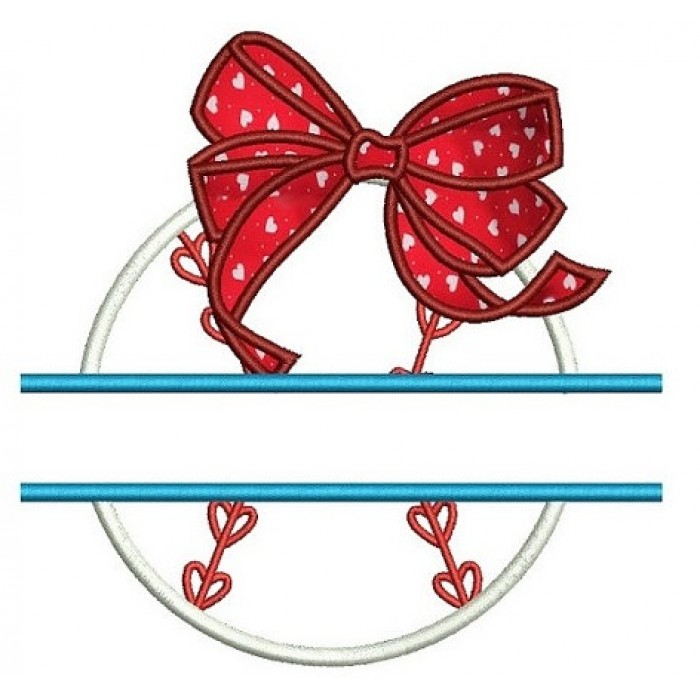 Girl Baseball with Bow Split Applique Machine Embroidery Digitized Design Pattern - Instant Download - 4x4 , 5x7, and 6x10 -hoops