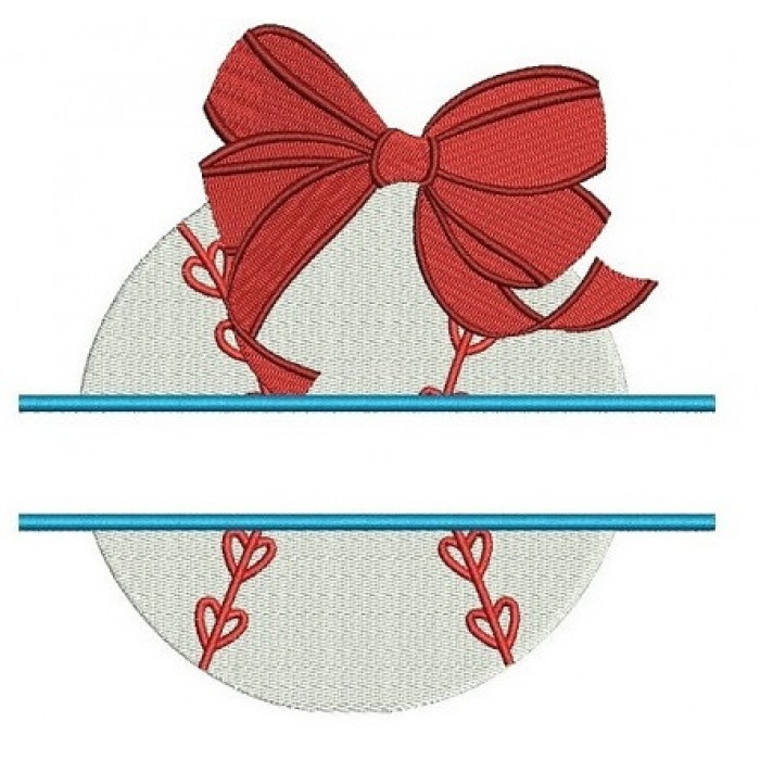 Girl Baseball with Bow Split Machine Embroidery Digitized Filled Design Pattern - Instant Download - 4x4 , 5x7, and 6x10 -hoops