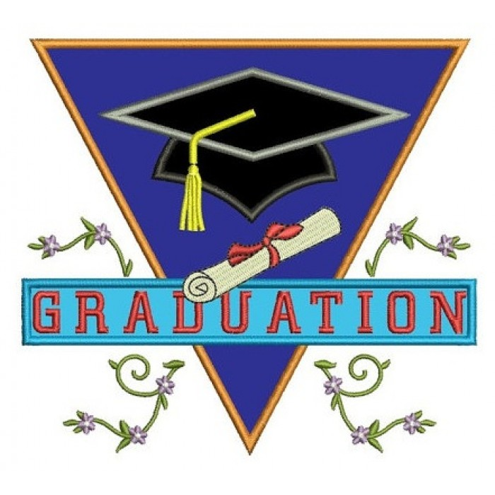 Graduation Applique with a Cap and fancy leaves Machine Embroidery Digitized Design Pattern -Instant Download- 4x4,5x7,6x10