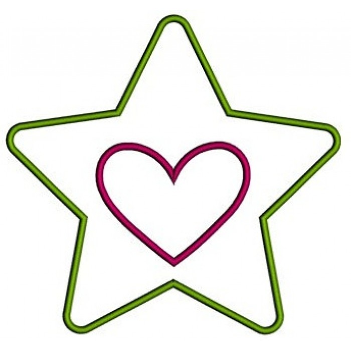 Star With Heart Applique Machine Embroidery Digitized Design Pattern ...