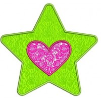 Star With Heart Applique Machine Embroidery Digitized Design Pattern - Instant Download - 4x4 , 5x7, 6x10