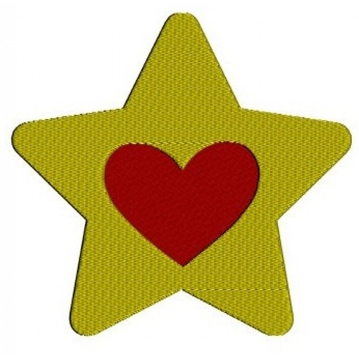Star With Heart Machine Embroidery Digitized Filled Design Pattern - Instant Download - 4x4 , 5x7, 6x10