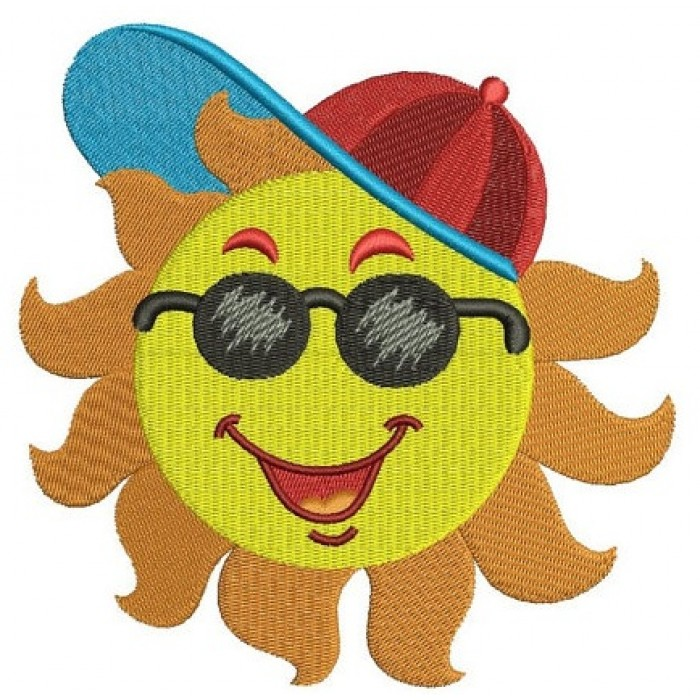 Sun wearing a cap Summer Machine Embroidery Filled Digitized Design Pattern -Instant Download- 4x4,5x7,6x10