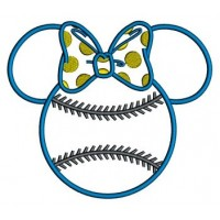 Baseball with bow what looks like Minnie Mouse Ears Applique Machine Embroidery Digitized Pattern- Instant Download - 4x4 ,5x7,6x10 -hoops