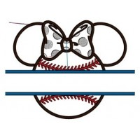 Baseball with bow what looks like Minnie Mouse Ears Applique Split Machine Embroidery Digitized Pattern- Instant Download - 4x4 ,5x7,6x10