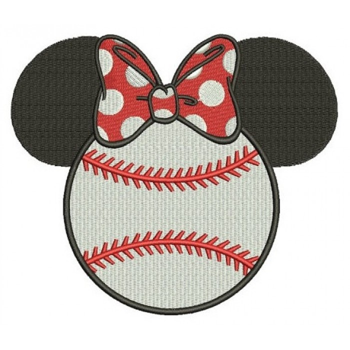 Baseball with bow what looks like Minnie Mouse Ears Filled Machine Embroidery Digitized Pattern- Instant Download - 4x4 ,5x7,6x10 -hoops