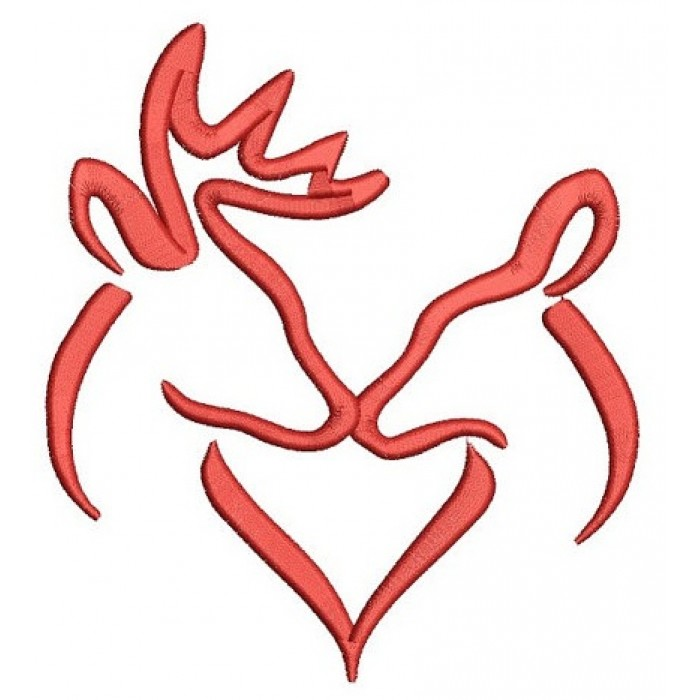 Buck And Doe Heart Kissing Machine Embroidery Filled Digitized Design