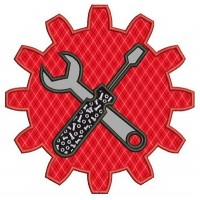 Gear Applique with wrench and a screwdriver mechanic handyman Machine Embroidery Digitized Design Pattern- Instant Download - 4x4 ,5x7,6x10