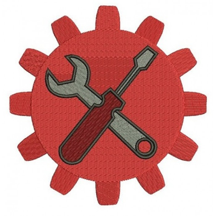 Gear with wrench and a screwdriver mechanic handyman Machine Filled Embroidery Digitized Design Pattern- Instant Download - 4x4 ,5x7,6x10