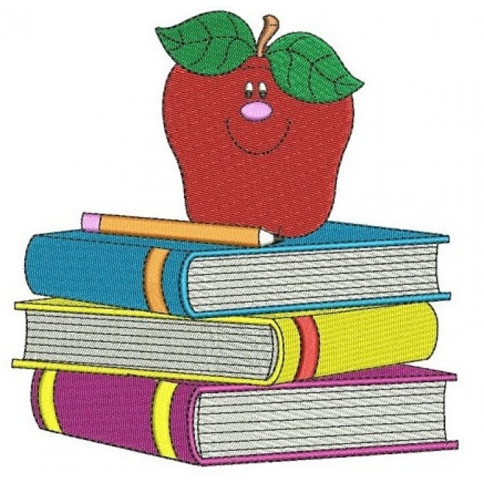 School Books with apple teacher Machine Embroidery Filled Digitized Design Pattern -Instant Download- 4x4,5x7,6x10