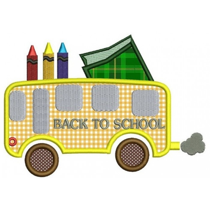 School Bus Applique with crayons student teacher Machine Embroidery Digitized Design Pattern -Instant Download- 4x4,5x7,6x10