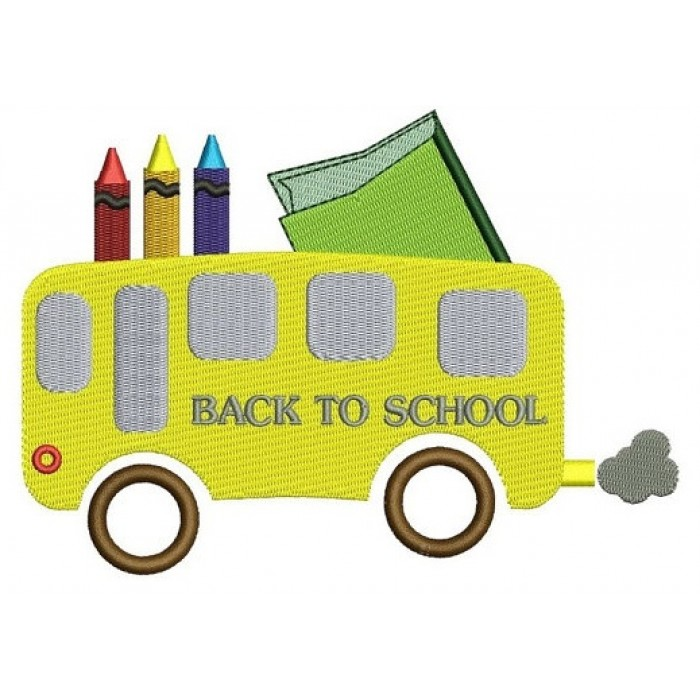 School Bus with crayons student teacher Machine Embroidery Filled Digitized Design Pattern -Instant Download- 4x4,5x7,6x10