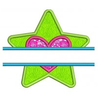 Star With Heart Split Applique Machine Embroidery Digitized Design Pattern - Instant Download - 4x4 , 5x7, 6x10