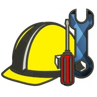 Construction Hard Hat Applique with wrench & screwdriver Builder Machine Embroidery Digitized Design Pattern- Instant Download