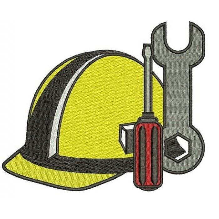 Construction Hard Hat with wrench and screwdriver Builder Machine Filled Embroidery Digitized Design Pattern- Instant Download