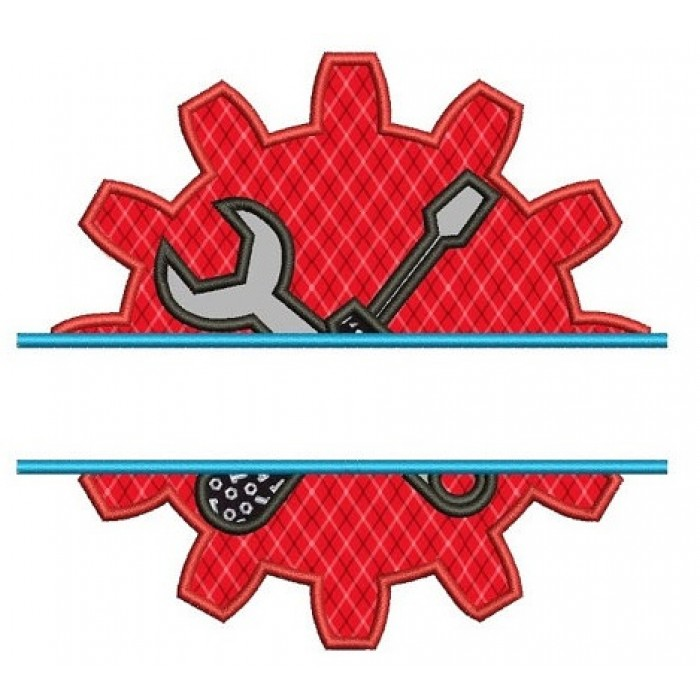 Gear Split Applique with wrench and a screwdriver mechanic handyman Machine Embroidery Digitized Design Pattern- Instant Download
