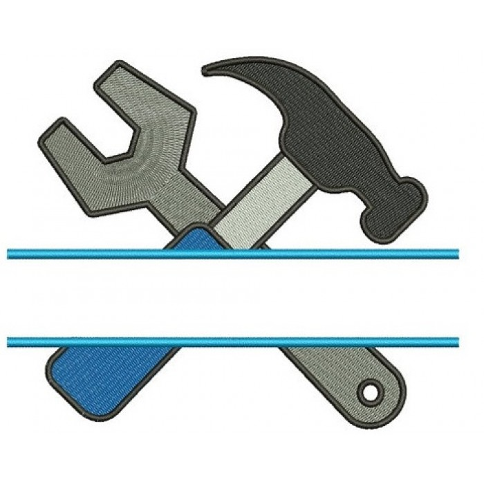 Hammer and a Wrench Split mechanic handyman Machine Embroidery Digitized Filled Design Pattern- Instant Download - 4x4 ,5x7,6x10