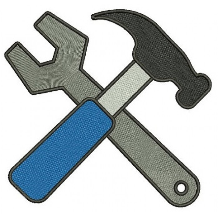 Hammer and a Wrench mechanic handyman Machine Embroidery Filled Digitized Design Pattern- Instant Download - 4x4 ,5x7,6x10