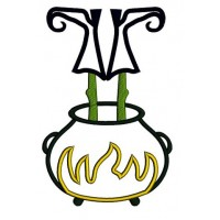 Witch feet in the pot Applique wearing witch hat Machine Embroidery Digitized Pattern - Instant Download - 4x4 , 5x7, 6x10