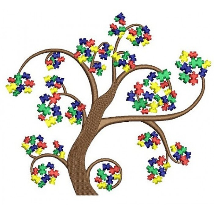 Autism Awareness Tree Machine Embroidery Digitized Design Filled Pattern - Instant Download - 4x4 , 5x7, and 6x10 -hoops