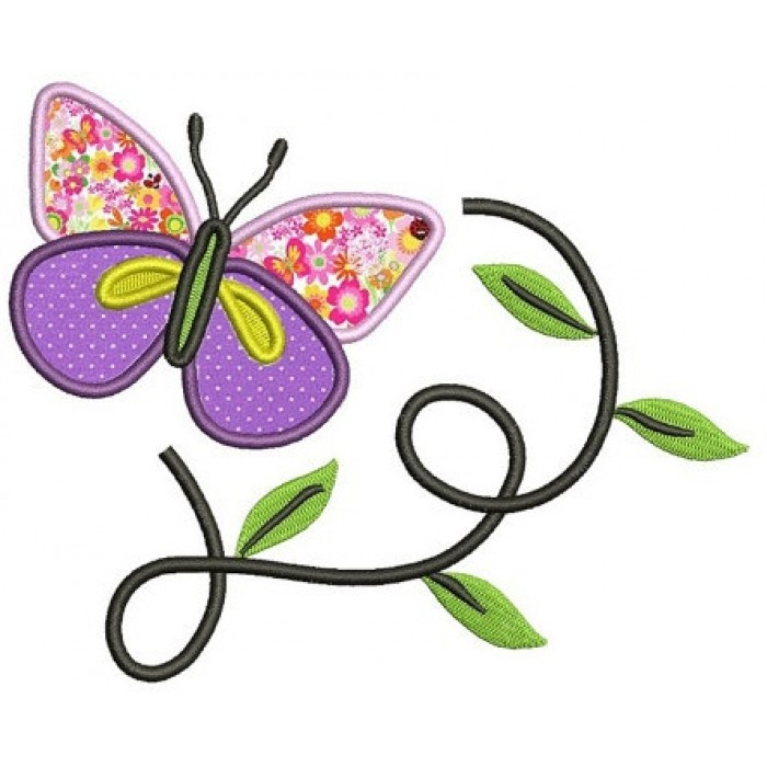 Butterfly flying over leaves Applique Machine Embroidery Digitized Design Pattern - Instant Download - 4x4 , 5x7, and 6x10 -hoops