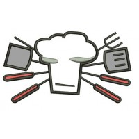 Cooking Chef BBQ Applique Machine Embroidery Digitized Filled Design Pattern (necktie) - Instant Download - 4x4 , 5x7, and 6x10 -hoops