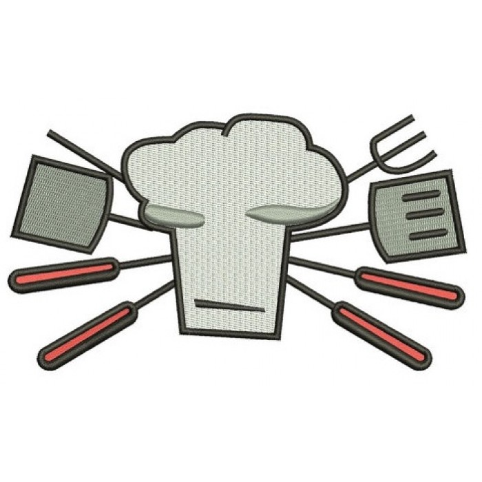 Cooking Chef BBQ Day Machine Filled Embroidery Digitized Filled Design Pattern (necktie) - Instant Download - 4x4 , 5x7, and 6x10 -hoops
