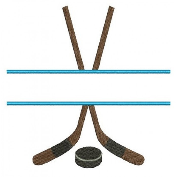 Hockey Split Stick and puck Sport Machine Embroidery Digitized Filled Design Pattern - Instant Download - 4x4 , 5x7, and 6x10 -hoops